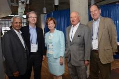 left to right: Desh Deshpande, Holden Thorpe (Washington University) Chancellor Moloney, Buck Goldstein (UNC) and Ira Jackson UMASS Boston