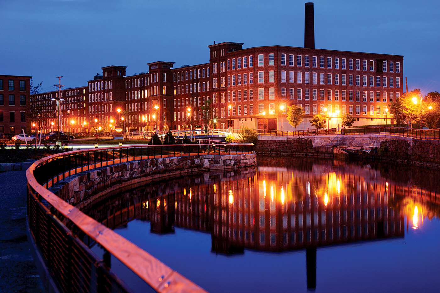 lowell mill buildings at night